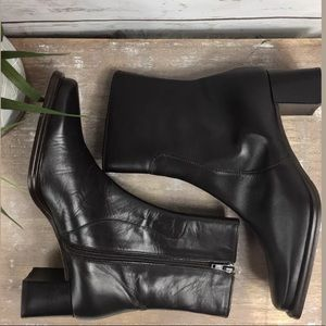 Tano Brown Leather Zip Heels Boots Size 38.5 (8.5)